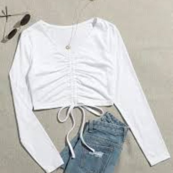 Shein Drawstring Front Ruched Crop Tee
